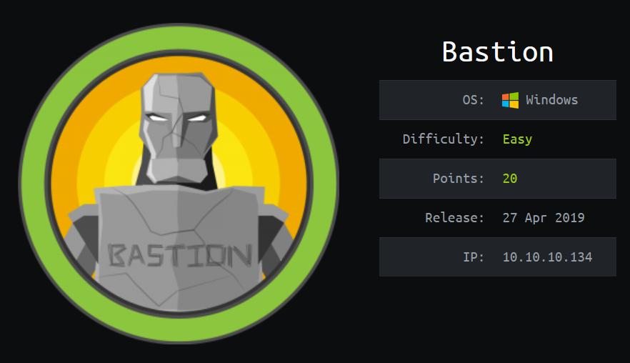 HTB Bastion info card