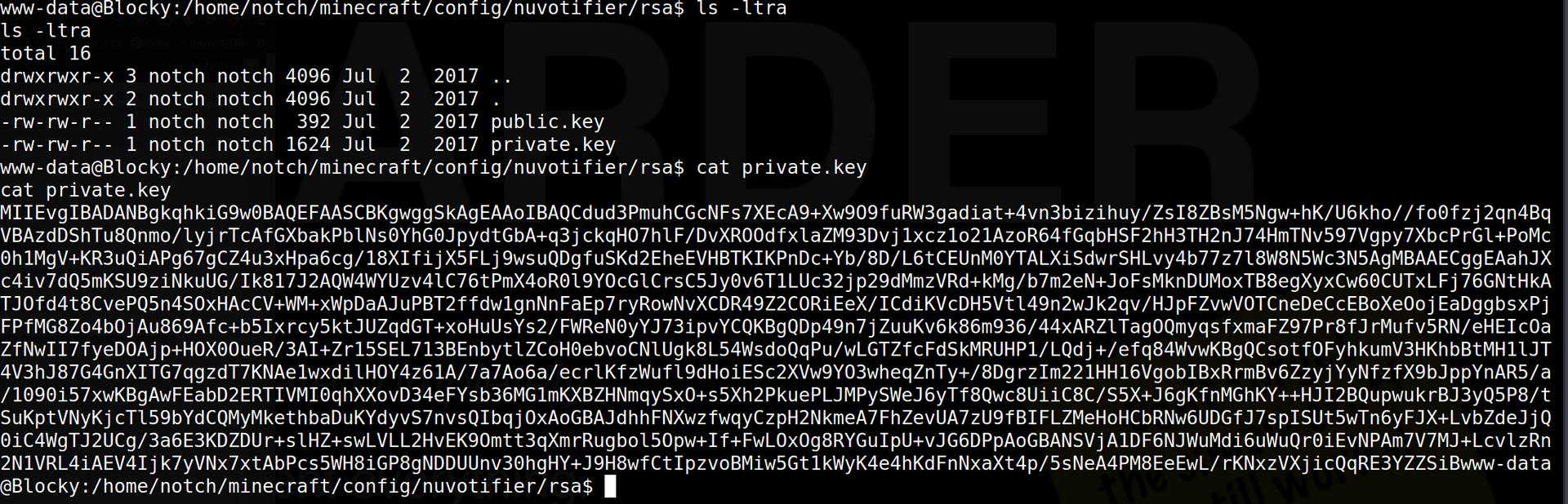 RSA keys for notch