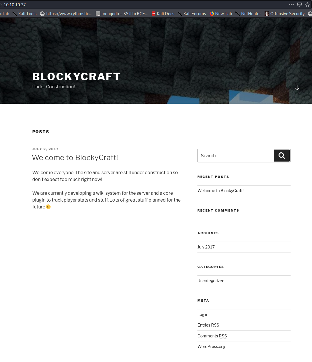 BlockyCraft Index page