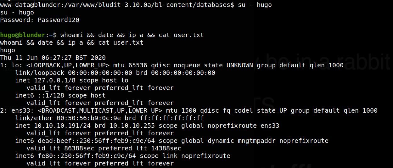 user shell as Hugo on blunder