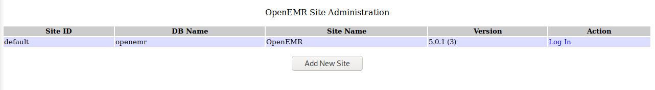 OpenEMR login page