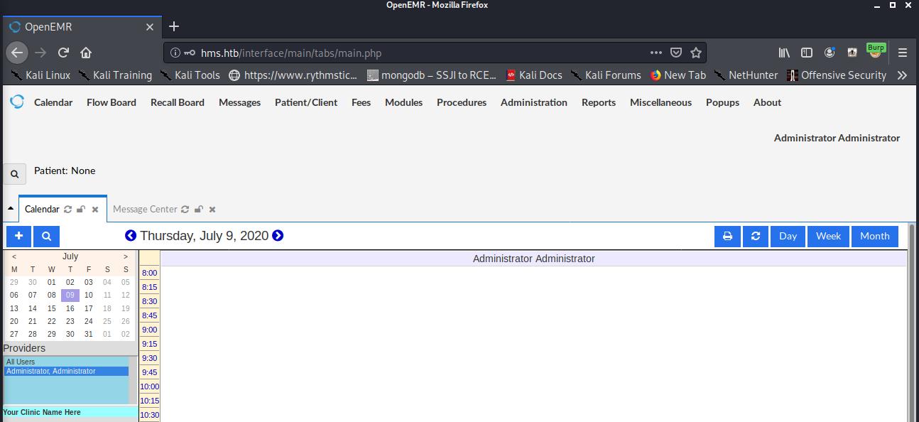 openemr admin logged in
