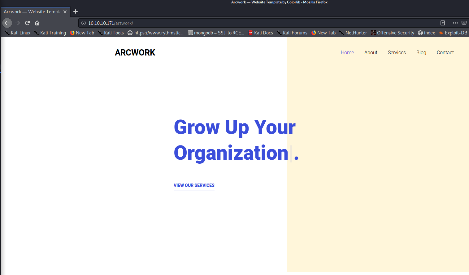 Artwork page on 'OpenAdmin'
