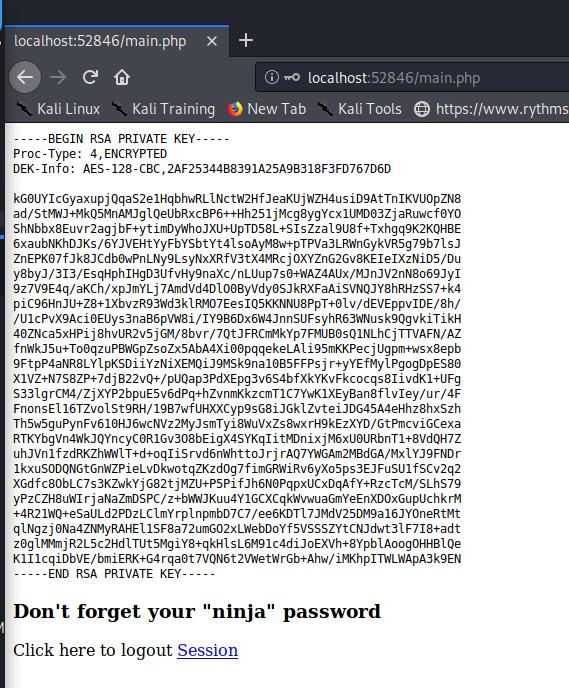 Julia's private SSH key from internal web server