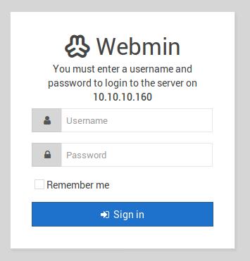 Webmin login on port 10000