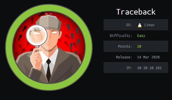 Traceback HTB info card
